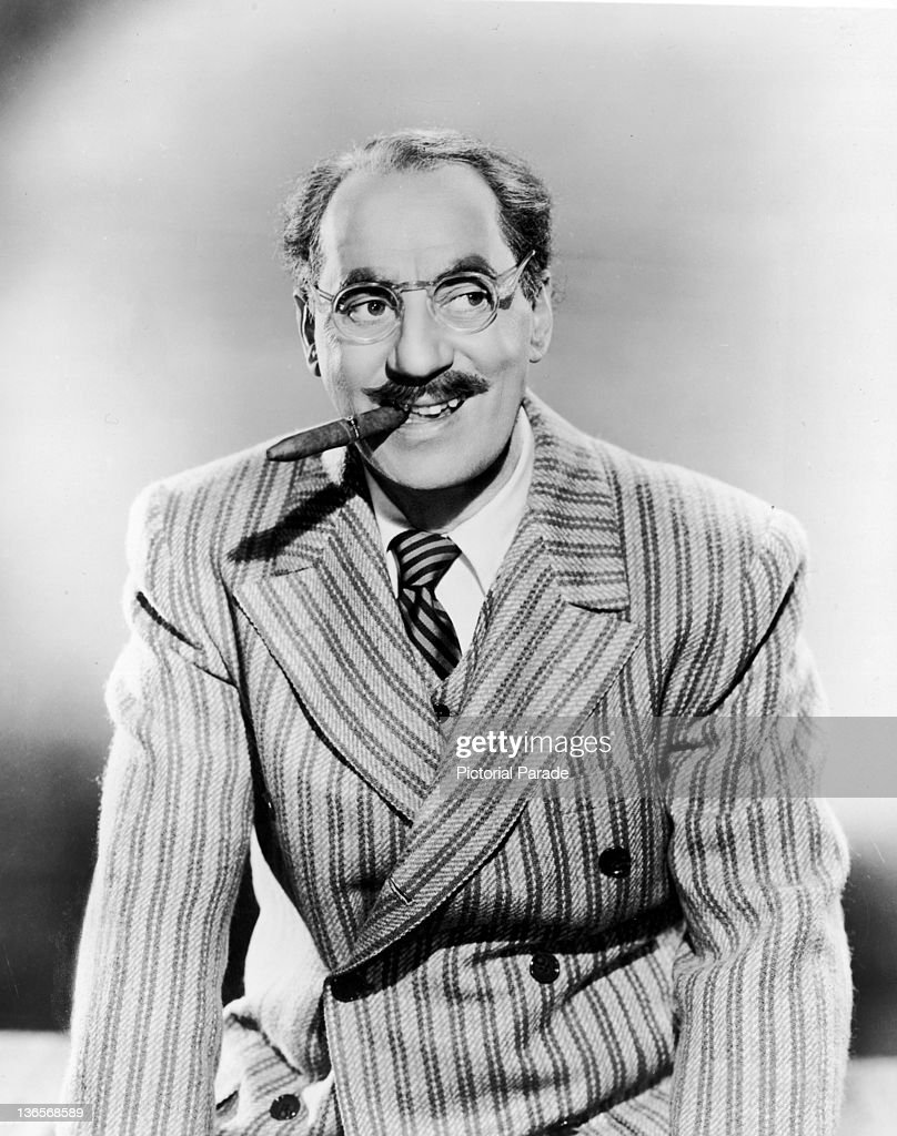 American comedian <a gi-track='captionPersonalityLinkClicked' href=/galleries/search?phrase=Groucho+Marx&family=editorial&specificpeople=206589 ng-click='$event.stopPropagation()'>Groucho Marx</a> (1890 - 1977), circa 1945.