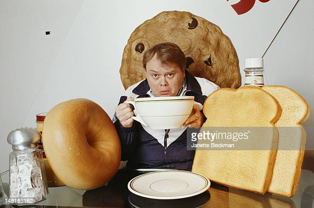 American comedian Louie Anderson eats an outsize breakfast New York City 1990