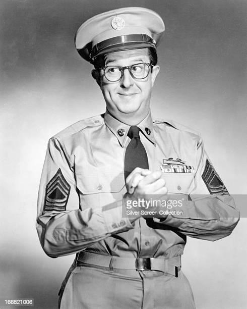 American comedian Phil Silvers as Sergeant Ernie Bilko in 'The Phil Silvers Show' circa 1957