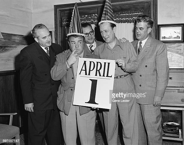 American comedians Bud Abbott and Lou Costello on April Fool's Day early 1950s