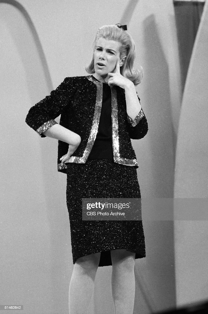 American comedienne <a gi-track='captionPersonalityLinkClicked' href=/galleries/search?phrase=Joan+Rivers&family=editorial&specificpeople=159403 ng-click='$event.stopPropagation()'>Joan Rivers</a> strikes a puzzled pose while performing her act on 'The Ed Sullivan Show,' New York, New York, December 12, 1966.