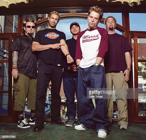 American comedy band Bloodhound Gang Dublin Ireland July 2000 LR William Brehony Evil Jared Hasselhoff Jimmy Pop QBall and Lupus Thunder