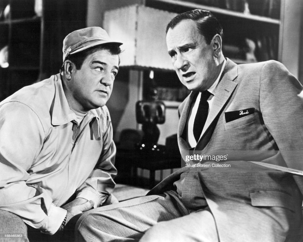 American comedy duo <a gi-track='captionPersonalityLinkClicked' href=/galleries/search?phrase=Bud+Abbott&family=editorial&specificpeople=228402 ng-click='$event.stopPropagation()'>Bud Abbott</a> (1895 - 1974, right) and <a gi-track='captionPersonalityLinkClicked' href=/galleries/search?phrase=Lou+Costello&family=editorial&specificpeople=123845 ng-click='$event.stopPropagation()'>Lou Costello</a> (1906 - 1959) in 'Abbott and Costello Meet the Keystone Kops', directed by Charles Lamont, 1955.