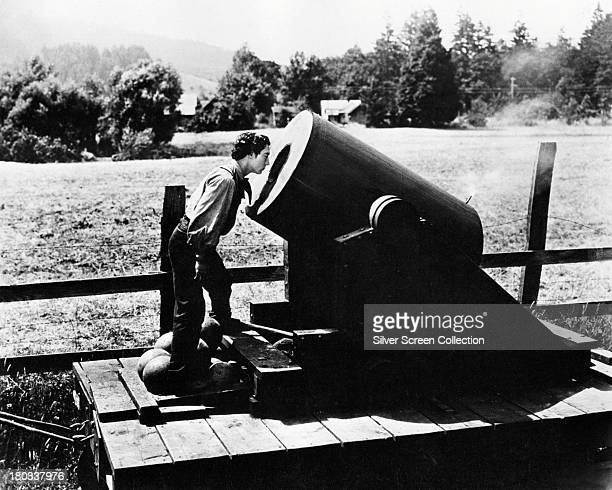 American comic actor and filmmaker Buster Keaton on an artillery car in a scene from 'The General' directed by Keaton 1926