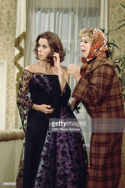 American comic actors Carol Burnett and Vicki Lawrence perfom a skit in costume on the television comedy variety series 'The Carol Burnett Show'...