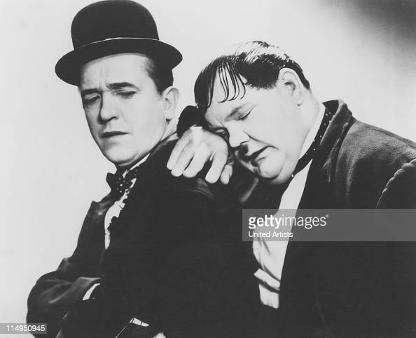 American comic actors Stan Laurel and Oliver Hardy circa 1935