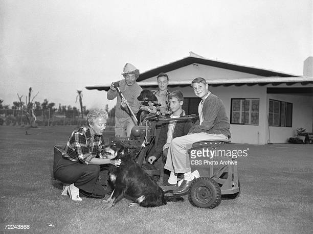 American comic film actor Harpo Marx poses with his wife actress Susan Fleming and their three adopted sons Bill Alex and Jimmy around a large rider...