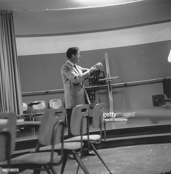 American composer and musician John Cage in a classroom at the New School New York New York August 5 1959 Cage had been involved with and taught...