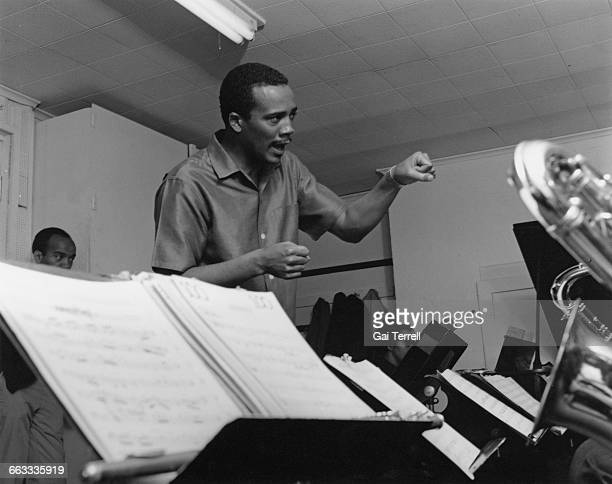 American composer and record producer Quincy Jones at work in a recording studio 1963