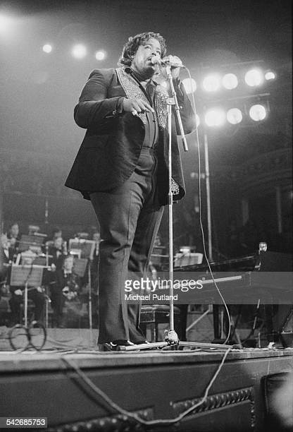 American composer and singersongwriter Barry White performing with The Love Unlimited Orchestra at the Royal Albert Hall London 13th May 1975