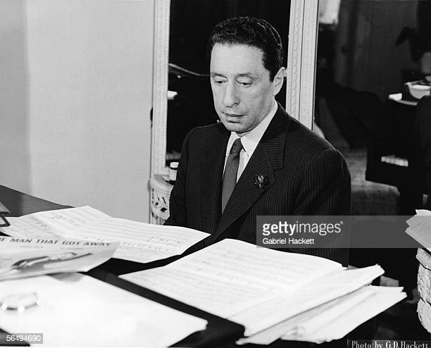 American composer Harold Arlen works on a composition on a piano 1965 The songbook for 'The Man That Got Away' which he and lyricist Ira Gershwin...