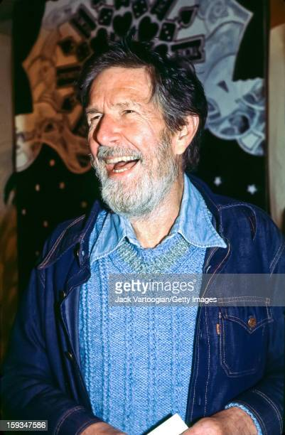 American composer John Cage attends the opening night of the Cunningham Dance Company's season at the Minskoff Theater New York New York January 18...