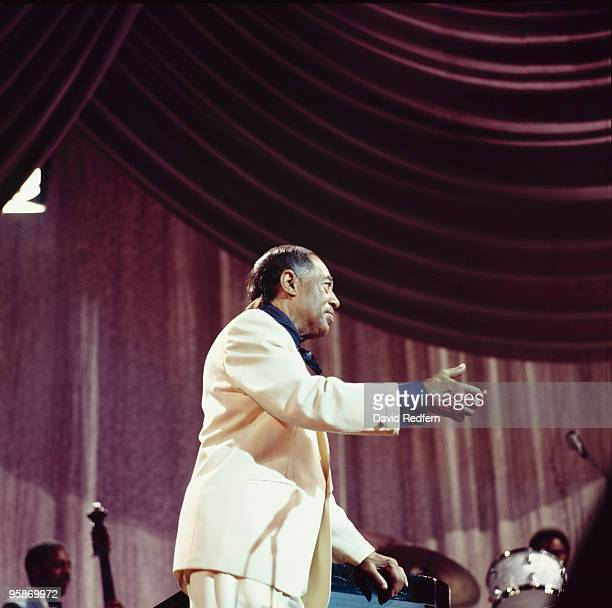 Duke Ellington performs on stage with his Big Band at the Hammersmith Odeon in London England in October 1971