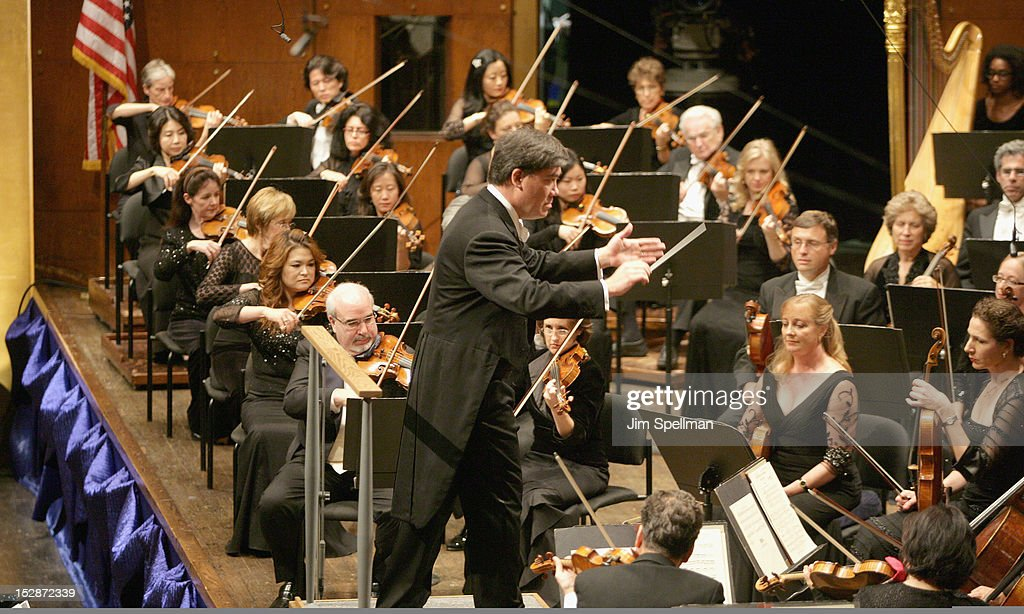 American conductor and violinist Alan Gilbert (M) attends the New York Philharmonic 171st Season Opening Night Gala at Avery Fisher Hall at Lincoln Center for the Performing Arts on September 27, 2012 in New York City.