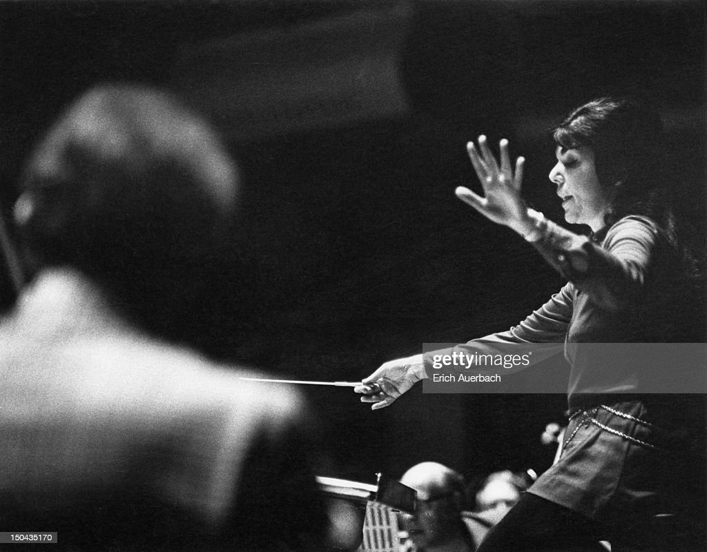 American conductor Eve Queler rehearsing an orchestra, 1974.