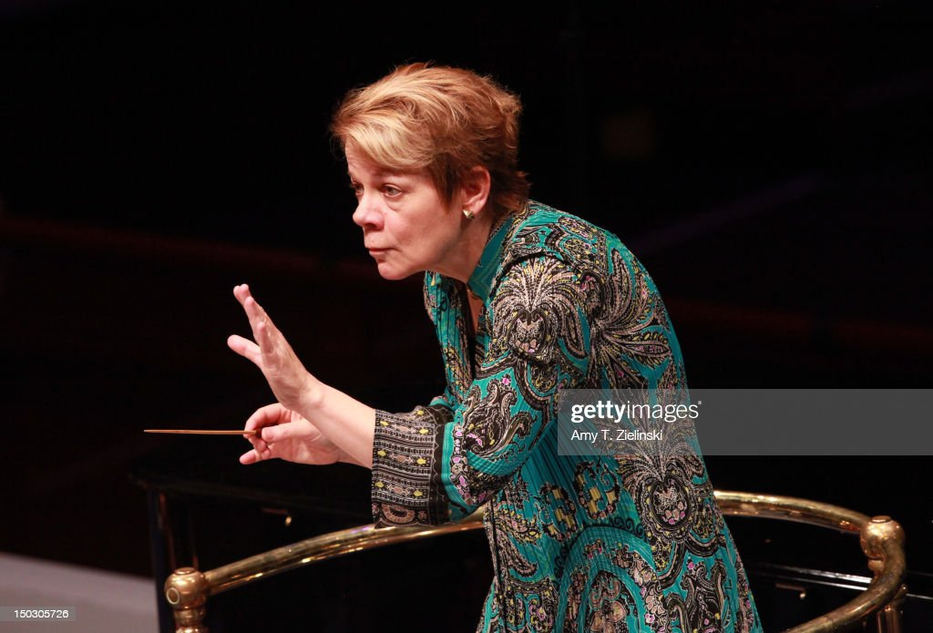 American conductor Marin Alsop leads the Sao Paulo Symphony Orchestra performing works by Dvorak, Copland, Joan Tower, Ginastera and Villa-Lobos during the rehearsal for Prom 45 of the BBC Proms at Royal Albert Hall on August 15, 2012 in London, United Kingdom. The Sao Paulo Symphony Orchestra is the first Brazilian orchestra ever to perform at the BBC Proms.