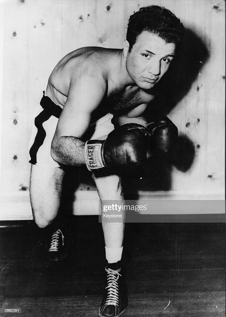 American contender for Middleweight title, Jake La Motta, in training to meet Marcel Cerdan, the French middleweight champion at Detroit.