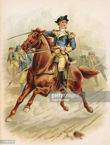 American Continental Army general and future first US president George Washington leads the American attack on British troops at the Battle of...
