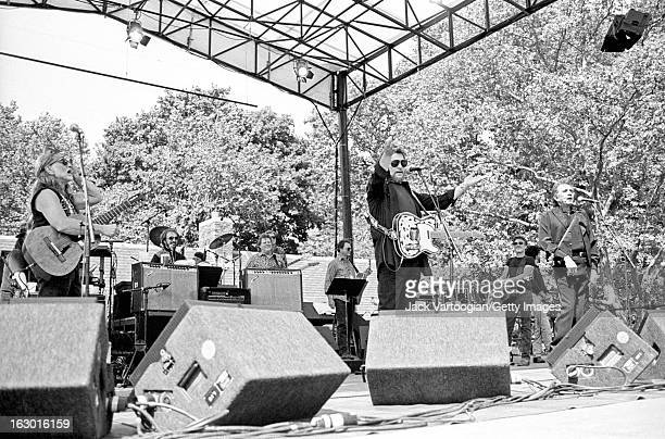 American country music group the Highwaymen from left Willie Nelson Waylon Jennings Kris Kristofferson and Johnny Cash perform at Central Park...