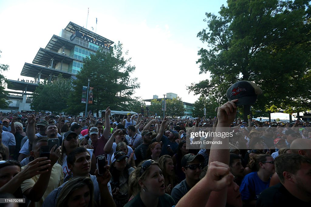 American Country Music singer <a gi-track='captionPersonalityLinkClicked' href=/galleries/search?phrase=Justin+Moore&family=editorial&specificpeople=2437772 ng-click='$event.stopPropagation()'>Justin Moore</a> performs at Indianapolis Motor Speedway on July 27, 2013 in Indianapolis, Indiana.
