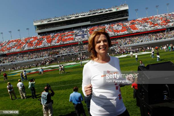 American country music singer Patty Loveless poses prior to the start of the NASCAR Nationwide Series DRIVE4COPD 300 at Daytona International...