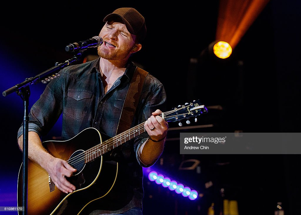 American country music singersongwriter Eric Paslay opens for Brad Paisley 'Crushin' It World Tour' at Rogers Arena on February 14 2016 in Vancouver...