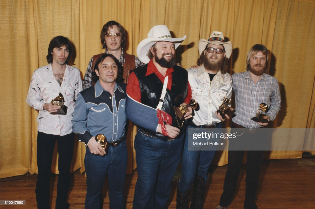 American country musician Charlie Davids and his band, winners of the Grammy Award for Best Country Vocal Performance for 'The Devil Went Down to Georgia', pose during The 22nd GRAMMY Awards held on February 27, 1980, at Shrine Auditorium, Los Angeles.