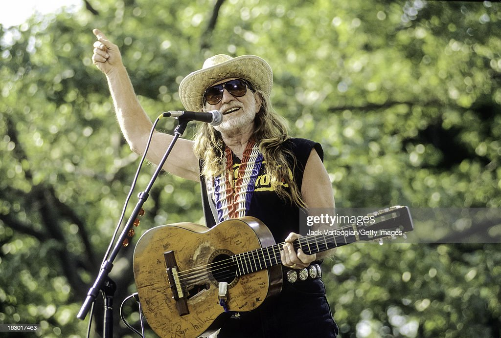 American country musician Willie Nelson performs, with the Highwaymen, at Central Park SummerStage, New York, New York, May 23, 1993.