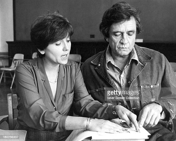 American country singer and actor Johnny Cash as Jesse Hallam and Brenda Vaccaro as Marion Galucci in the TV movie 'The Pride Of Jesse Hallam'...
