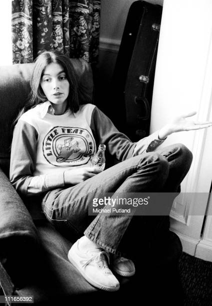 American country singer and musician Emmylou Harris in London 1975 She is wearing a 'Little Feat' sweatshirt