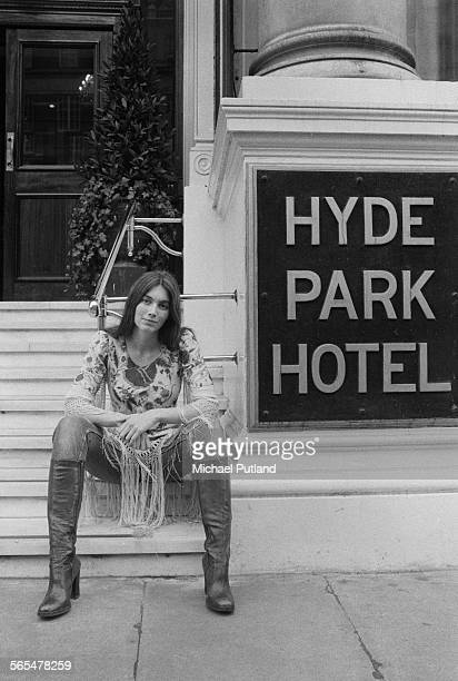 American country singersongwriter Emmylou Harris outside the Hyde Park Hotel London 11th February 1976