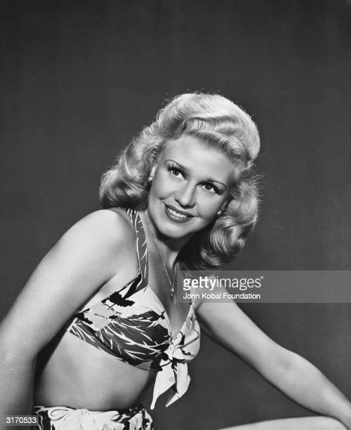 American dancer and actress Ginger Rogers who made her movie debut in 1929 wearing a bikini with a loud pattern