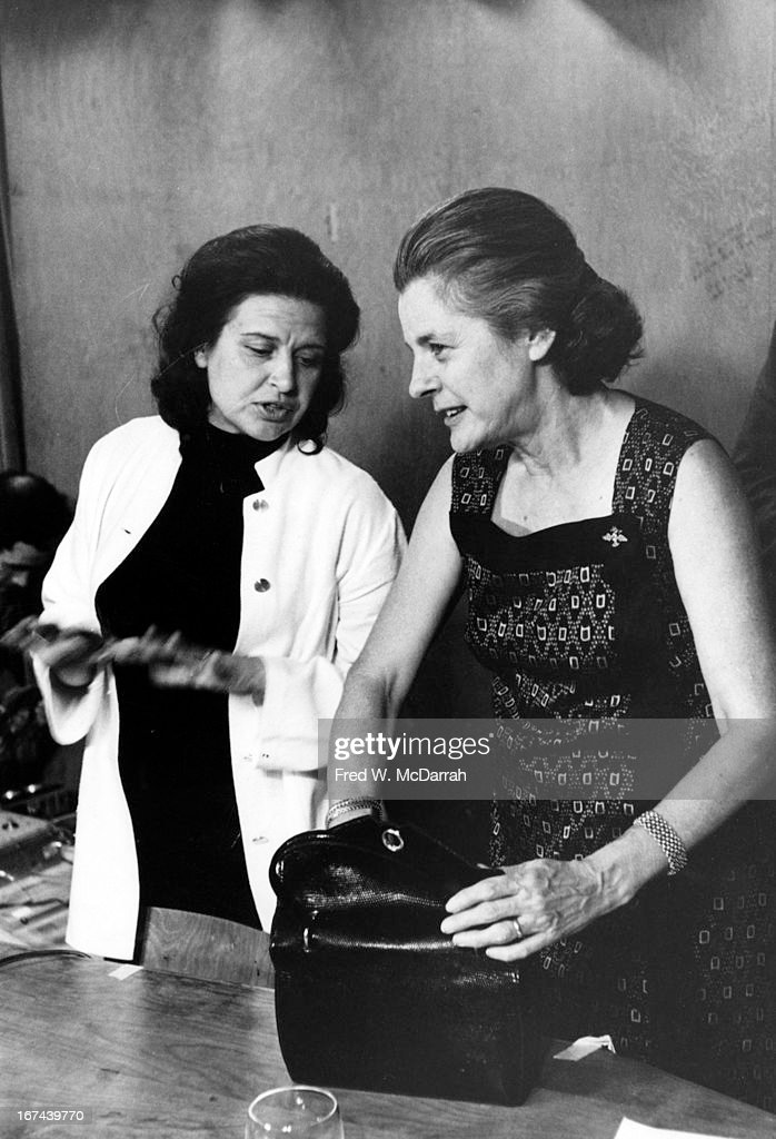 American dancer and choreographer Shirley Broughton (left) speaks with author and critic Mary McCarthy (1912 - 1989) during a one of Broughton's 'Theatre of Ideas' series lectures, New York, New York, September 17, 1968.