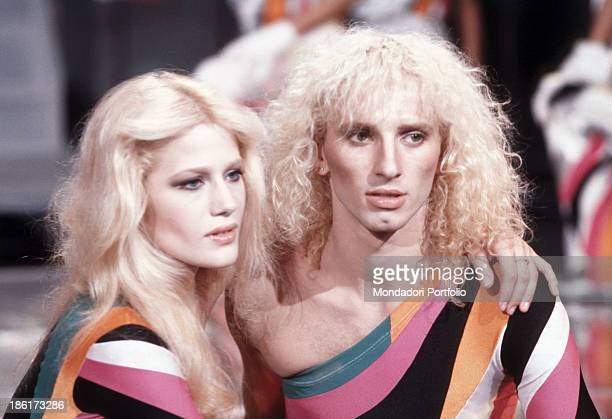 American dancer and showgirl Heather Parisi hugging Italian dancer and singer Enzo Avallone in the TV show Fantastico 1 Italy 1979