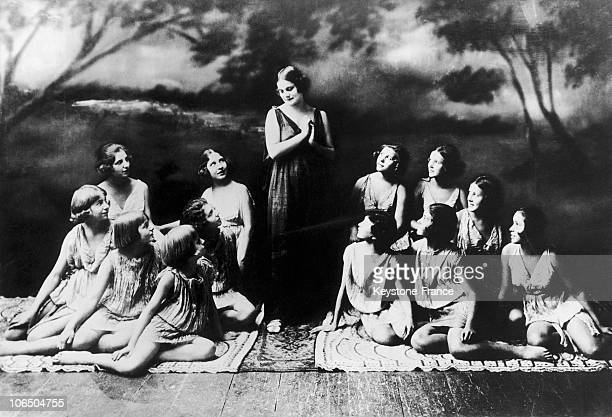 American Dancer Isadora Duncan And Some Of Her Students On Stage In 1928