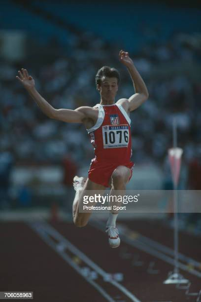 American decathlete Tim Bright competes for the United States team in the long jump discipline on the first day of competition before finishing in...