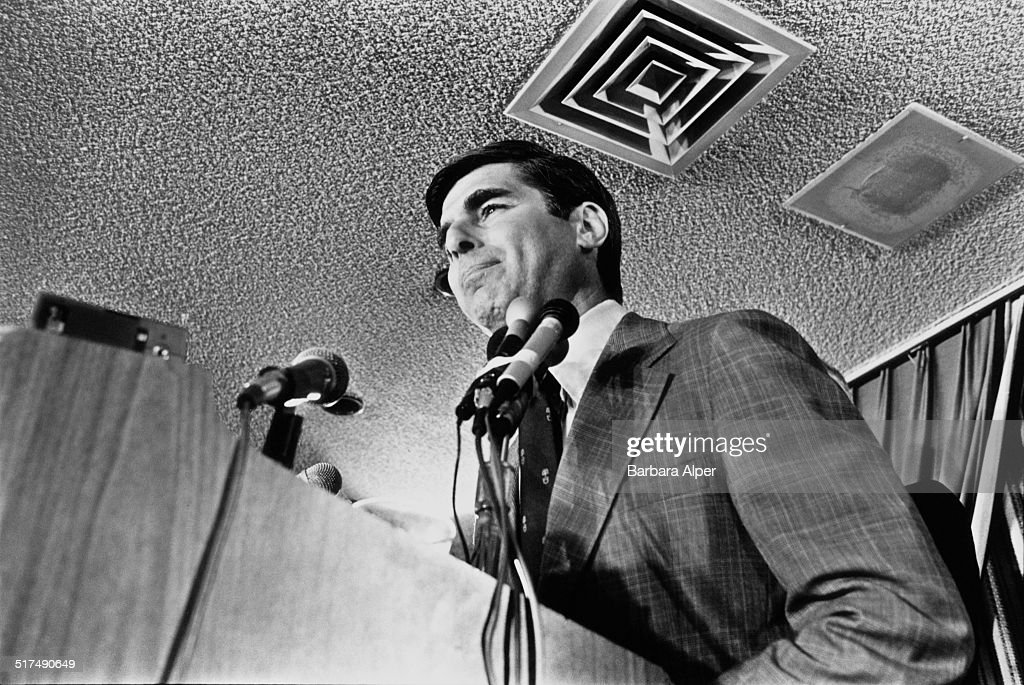 American Democrat politician <a gi-track='captionPersonalityLinkClicked' href=/galleries/search?phrase=Michael+Dukakis&family=editorial&specificpeople=210699 ng-click='$event.stopPropagation()'>Michael Dukakis</a> at the Massachusetts Democratic gubernatorial primary, Boston, Massachusetts, 7th November 1978.