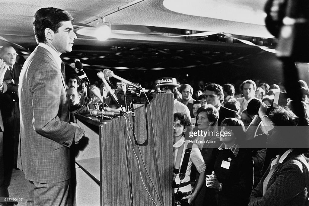American Democrat politician <a gi-track='captionPersonalityLinkClicked' href=/galleries/search?phrase=Michael+Dukakis&family=editorial&specificpeople=210699 ng-click='$event.stopPropagation()'>Michael Dukakis</a> talking to journalists at the Massachusetts Democratic gubernatorial primary, Boston, Massachusetts, 7th November 1978.