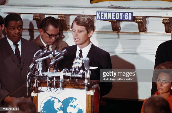 American Democratic Party politician and Senator from New York Robert F Kennedy begins his campaign for the Presidency at the Overseas Press Club in...