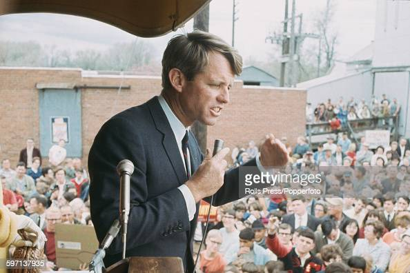 American Democratic Party politician and Senator from New York Robert F Kennedy makes a speech from a platform in the town of Kearney in Nebraska...