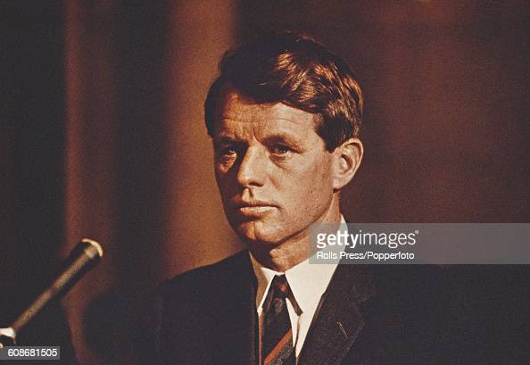 American Democratic Party politician and Senator from New York Robert F Kennedy makes a speech from a platform circa 1967