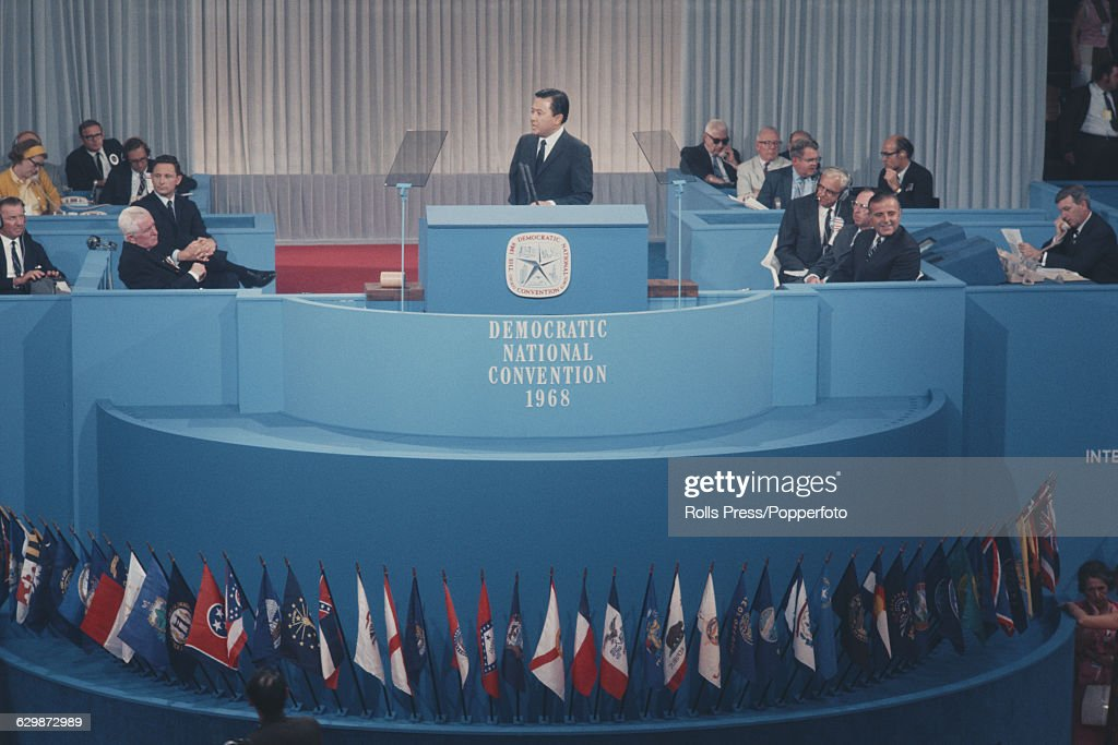 American Democratic Party politician and United States Senator from Hawaii, Daniel Inouye (1924-2012) pictured addressing the 1968 Democratic National Convention in Chicago on 26th August 1968.