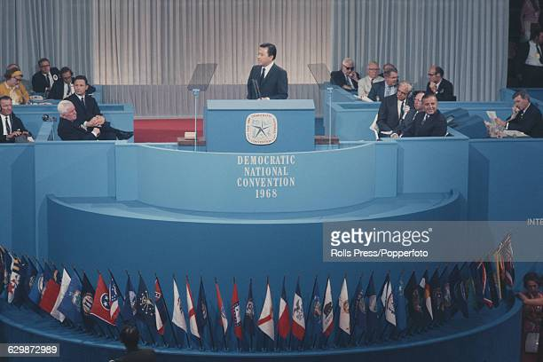 American Democratic Party politician and United States Senator from Hawaii Daniel Inouye pictured addressing the 1968 Democratic National Convention...