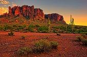 Sunset view of the desert and mountains near Phoenix, Arizona, USA
