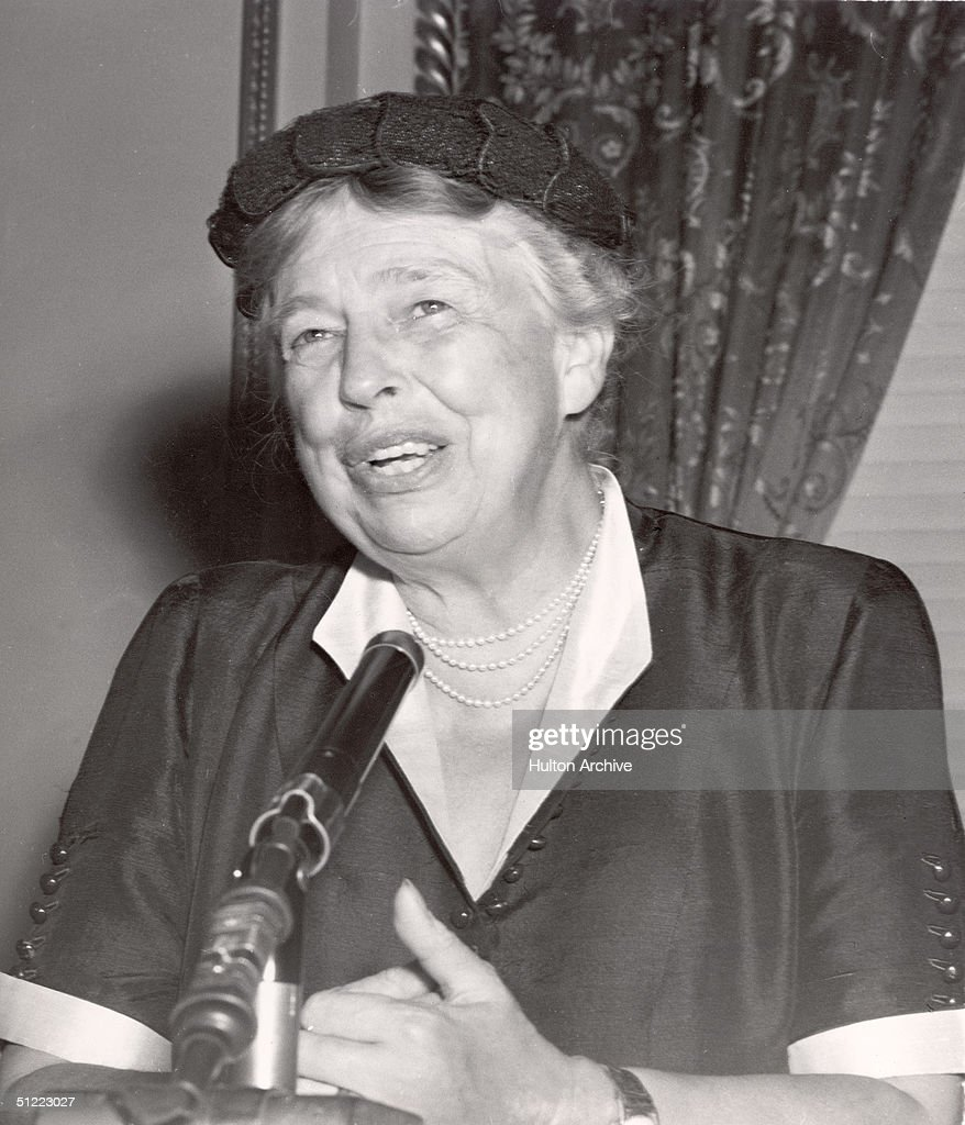 American diplomat and former First Lady <a gi-track='captionPersonalityLinkClicked' href=/galleries/search?phrase=Eleanor+Roosevelt&family=editorial&specificpeople=93348 ng-click='$event.stopPropagation()'>Eleanor Roosevelt</a> (1884 - 1962) speaks from behind a microphone, 1950s.
