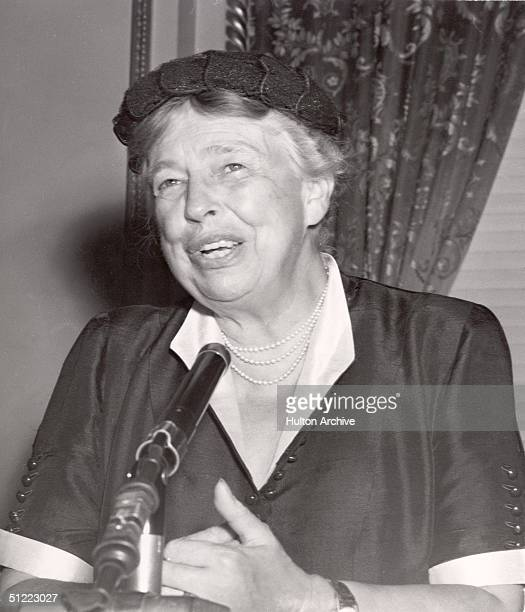 American diplomat and former First Lady Eleanor Roosevelt speaks from behind a microphone 1950s