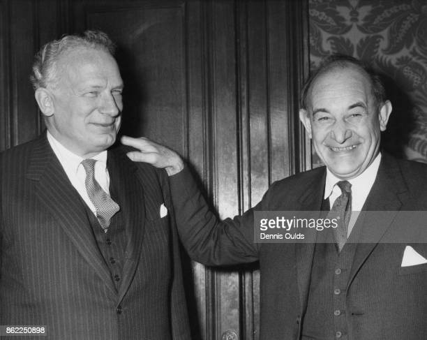 American diplomat George Ball the US Under Secretary of State with the British Foreign Secretary Patrick Gordon Walker at the Foreign Office in...