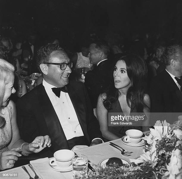 American diplomat Henry Kissinger attends a USC party in Hollywood in honour of deceased lyricist Oscar Hammerstein circa 1970 He is accompanied by...