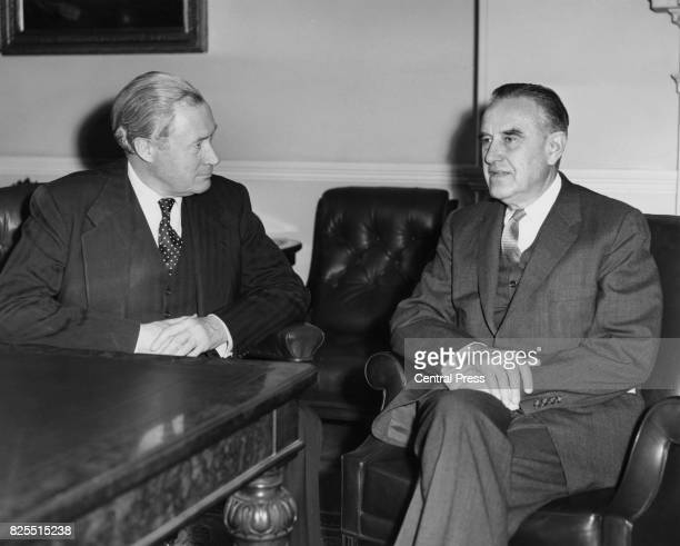 American diplomat W Averell Harriman the US UnderSecretary of State during talks with Duncan Sandys the Commonwealth and Colonial Secretary in London...