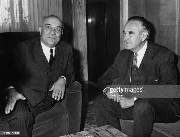 American diplomat W Averell Harriman with Italian Foreign Minister Amintore Fanfani at the Foreign Office in Rome Italy for talks on the Vietnam War...